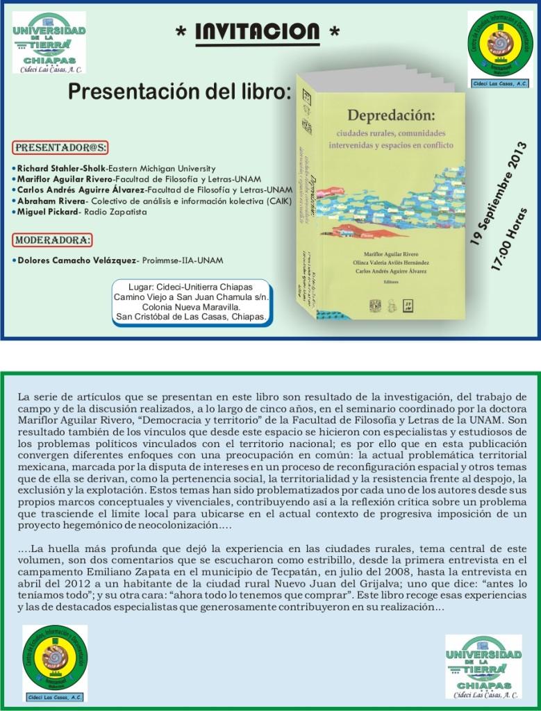 Invitación- Presentacion  de libro- 19-09-2013