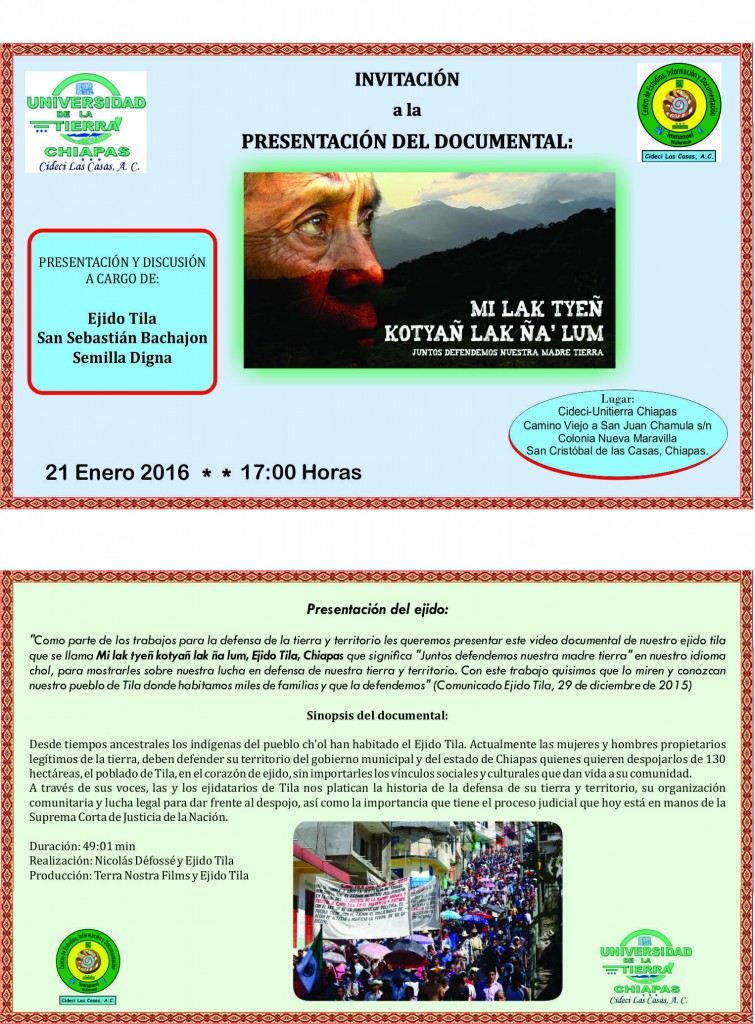 invitación Documental Tila- 21-01-2016